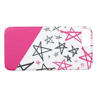 Cas tiré par la main rose de téléphone d'étoile coque iPhone 7