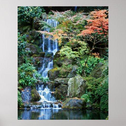 Cascade au jardin japonais posters zazzle for Cascade jardin japonais