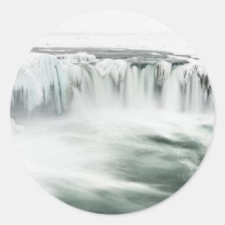 Cascade de Godafoss, hiver, Islande Sticker Rond