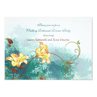 Cascade de grunge de lis carton d'invitation  12,7 cm x 17,78 cm