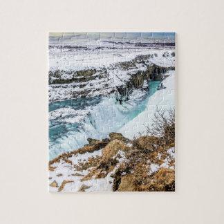 Cascade de Gulfoss Islande en hiver Puzzle