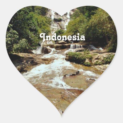 Cascade de l'Indonésie Autocollants En Cœur