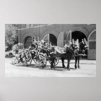 Caserne de pompiers, pompiers, chariot du feu posters