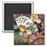 Casino jouant - tisonnier, merdes, roulette aimant pour réfrigérateur