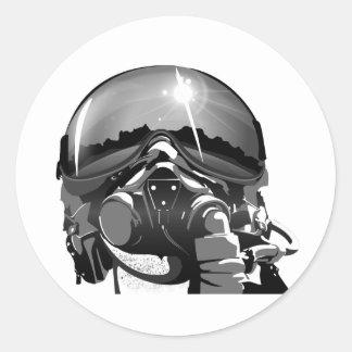 Casque et masque pilotes de l'Armée de l'Air Sticker Rond