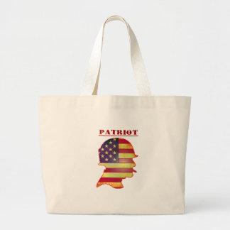 Casque patriotique de militaires de drapeau grand tote bag