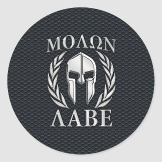 Casque spartiate de chrome de Molon Labe sur le Sticker Rond