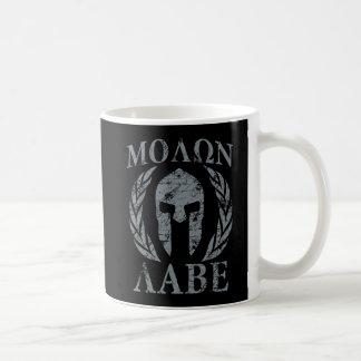 Casque spartiate grunge de Molon Labe Mug Blanc