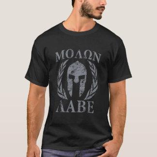 Casque spartiate grunge de Molon Labe T-shirt