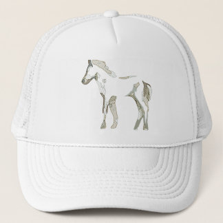 Casquette Abstract horse drawing in grey and beige tones -