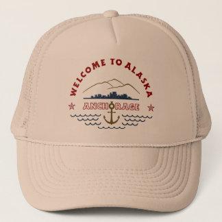 Casquette Accueil vers l'Alaska. Anchorage - logo de couleur