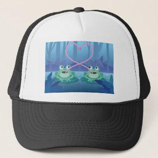 Casquette amants de grenouille de jour de valentines