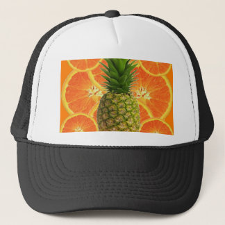 CASQUETTE ANANAS TROPICAL ET FRUIT ORANGE JUTEUX DE TRANCHES
