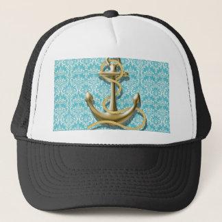 Casquette ancre nautique de marin de damassé de turquoise de
