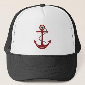 Casquette Ancre rouge de bateau avec le coeur