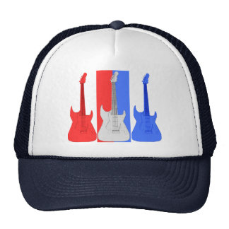 Casquette blanc et bleu rouge de guitares