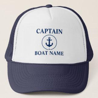 Casquette Bleu nautique de capitaine Boat Name Anchor Rope