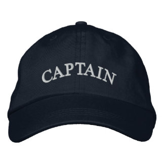 Casquette brodé de bleu marine de capitaine