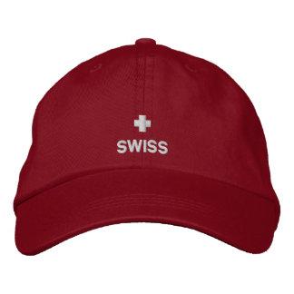 Casquette brodé par drapeau suisse