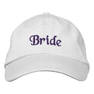 Casquette brodé par jeune mariée violet-foncé