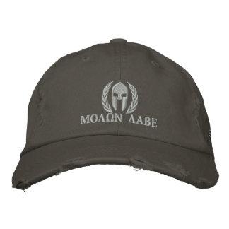 Casquette Brodée Broderie spartiate de lauriers de casque de Molon