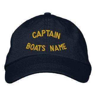 Casquette Brodée Capitaine personnalisé avec votre nom de bateaux