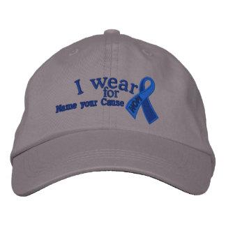 Casquette Brodée Conscience bleue personnalisée de ruban d'espoir