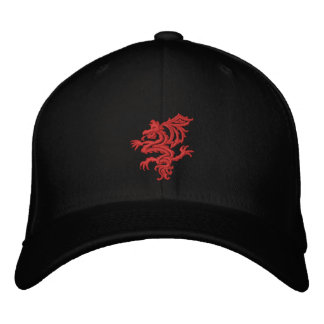 Casquette Brodée dragon rouge tribal
