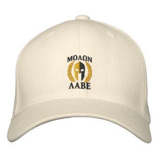 Casquette Brodée Noir spartiate d'or de lauriers de casque de Molon