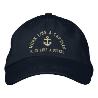 Casquette Brodée Travail comme un capitaine Play Like A Pirate