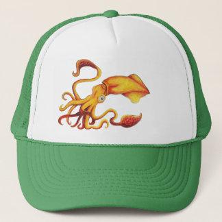 Casquette Calmar jaune brillant avec les tentacules oranges