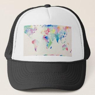Casquette carte du monde de couleur d'eau