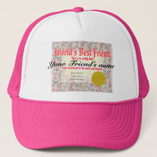 Casquette Certificat du meilleur ami du monde