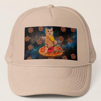 Casquette Chat de pizza - chat de l'espace - chat orange -
