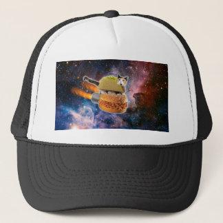 Casquette chat de taco et hamburger de fusée dans l'univers