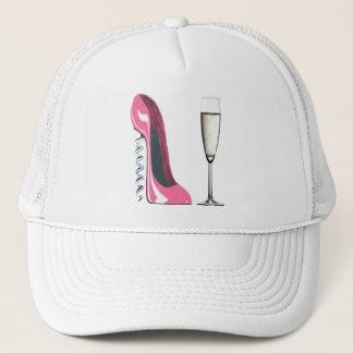 Casquette Chaussure stylet de tire-bouchon rose et verre de