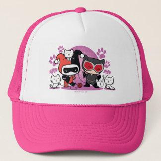 Casquette Chibi Harley Quinn et Catwoman de Chibi avec des