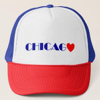 Casquette Chicago coeur rouge lettres bleues
