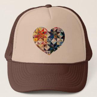 Casquette Coeur coloré d'édredon de patchwork