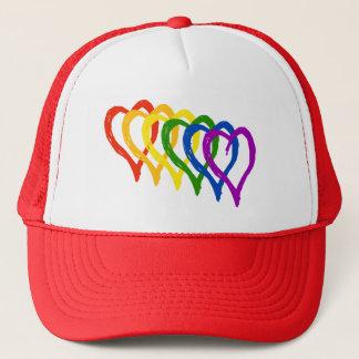Casquette Coeurs posés par arc-en-ciel de gay pride de