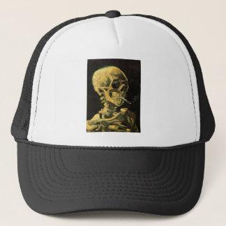 Casquette Crâne de Van Gogh avec la cigarette brûlante, art