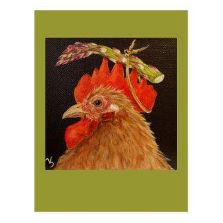 casquette d'asperge sur la carte postale de coq