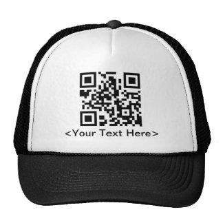 Casquette de baseball de code de QR avec le texte