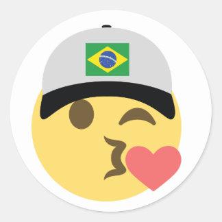 Casquette de baseball du Brésil Emoji Sticker Rond