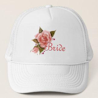 Casquette de baseball rose de jeune mariée de