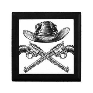 Casquette de cowboy et armes à feu croisées petite boîte à bijoux carrée