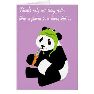 Casquette de grenouille de panda (anniversaire) carte de vœux