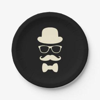 Casquette de moustache et plaques à papier de assiettes en papier