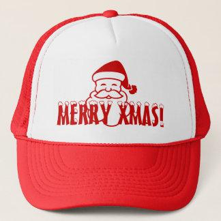 Casquette de Noël avec le père noël disant joyeux