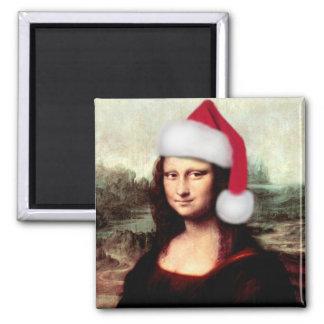 Casquette de Père Noël de Noël de Mona Lisa Magnet Carré